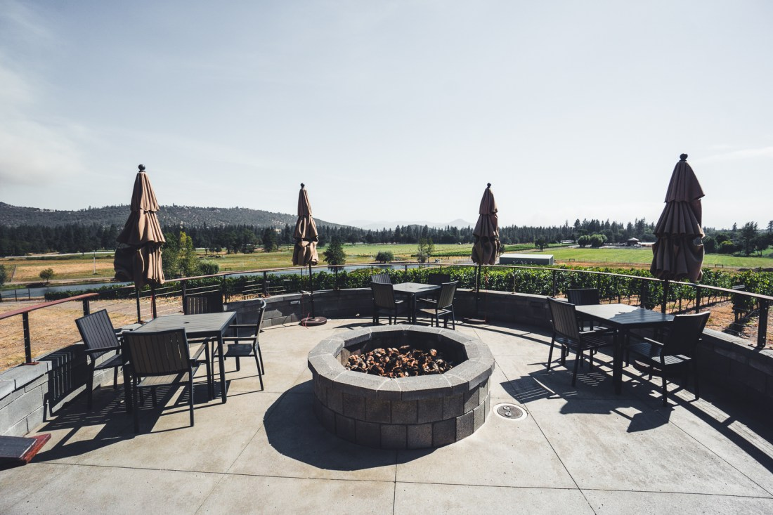 Kriselle Cellars Outdoor Patio with Fire Pit