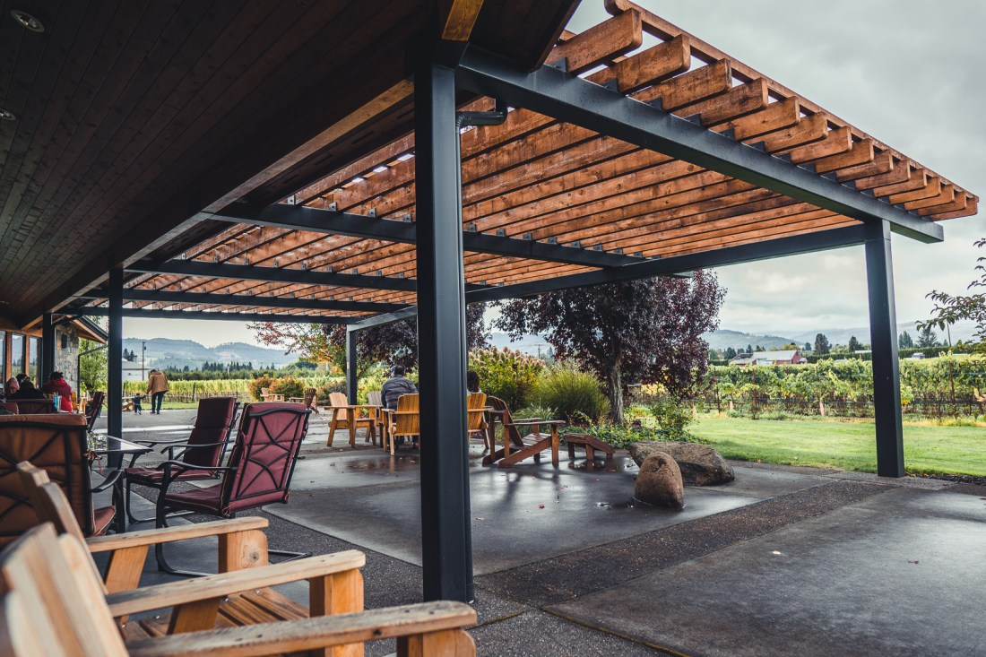 Mt. Hood Winery Outdoor Patio - Alaska Airlines Free Wine Tasting