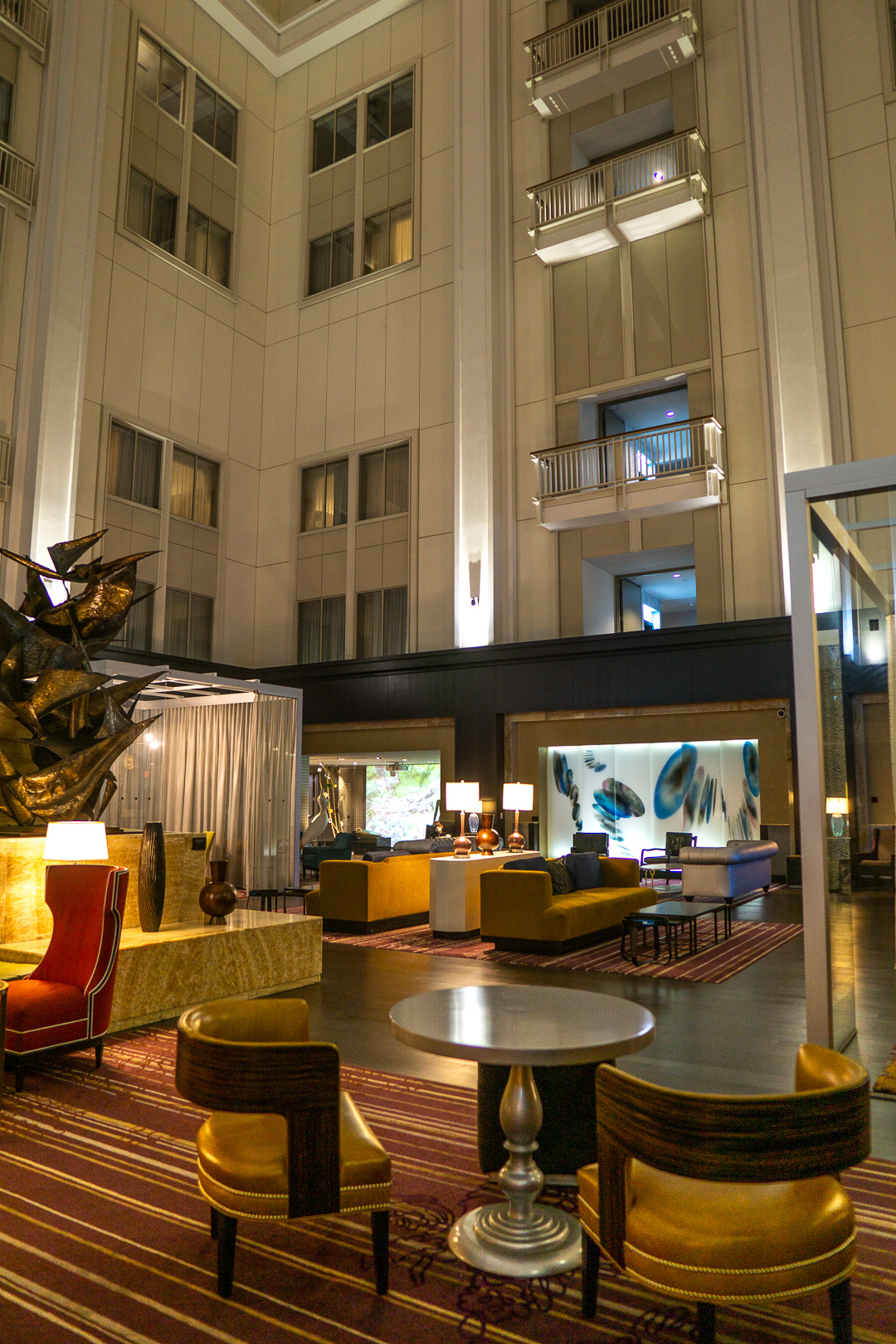 The Nines Hotel's Lobby at Night