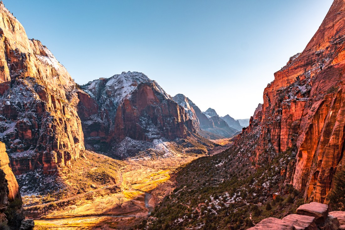View of Zion National Park During Sunset