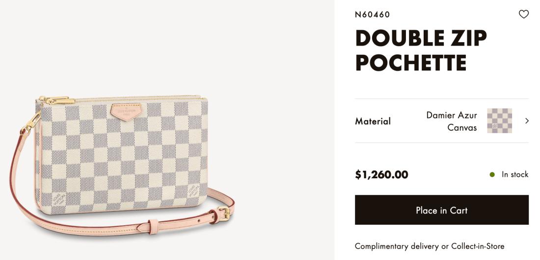Louis Vuitton Online Double Zip Pochette Price
