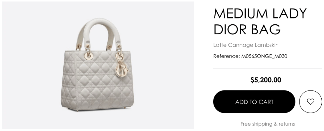 Christian Dior Online Pricing for Medium Lady Dior Bag