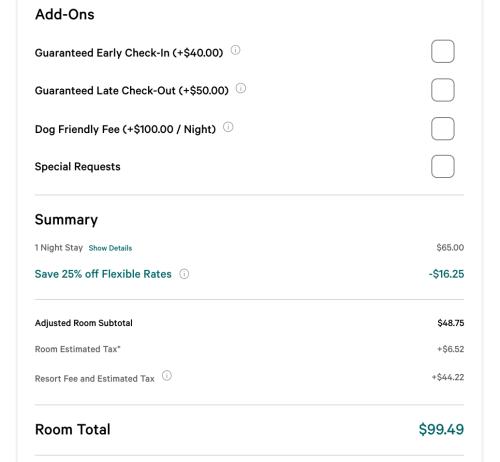 Screenshot of Mlife.com price for MGM Grand