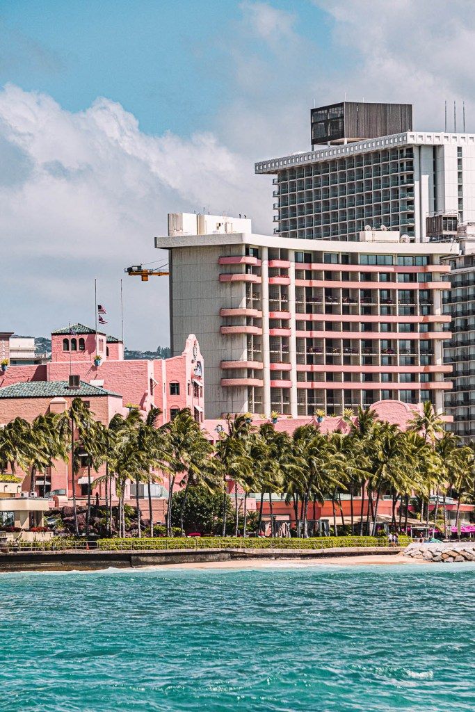 A view of the Royal Hawaiian Hotel from the Ocean