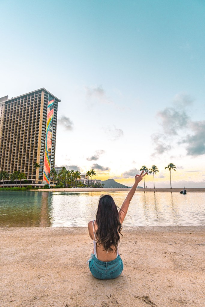 In front of the Hilton Hawaiian Lagoon