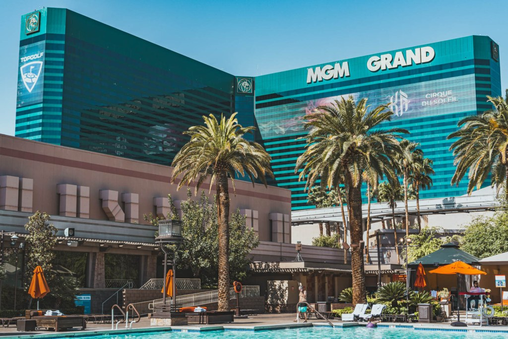 View of the MGM Grand Hotel from the pool area