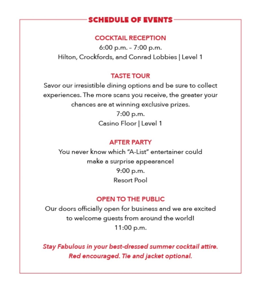 Resorts World Grand Opening Party Schedule