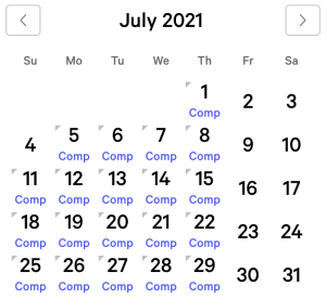 Bellagio myVEGAS Rewards Calendar (July 2021)