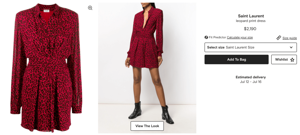 Saint Laurent Red Leopard Print Dress Retail Price