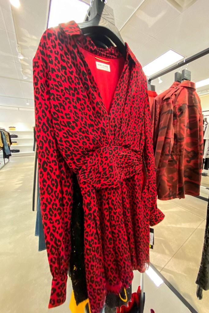 Saint Laurent Red Leopard Print Dress