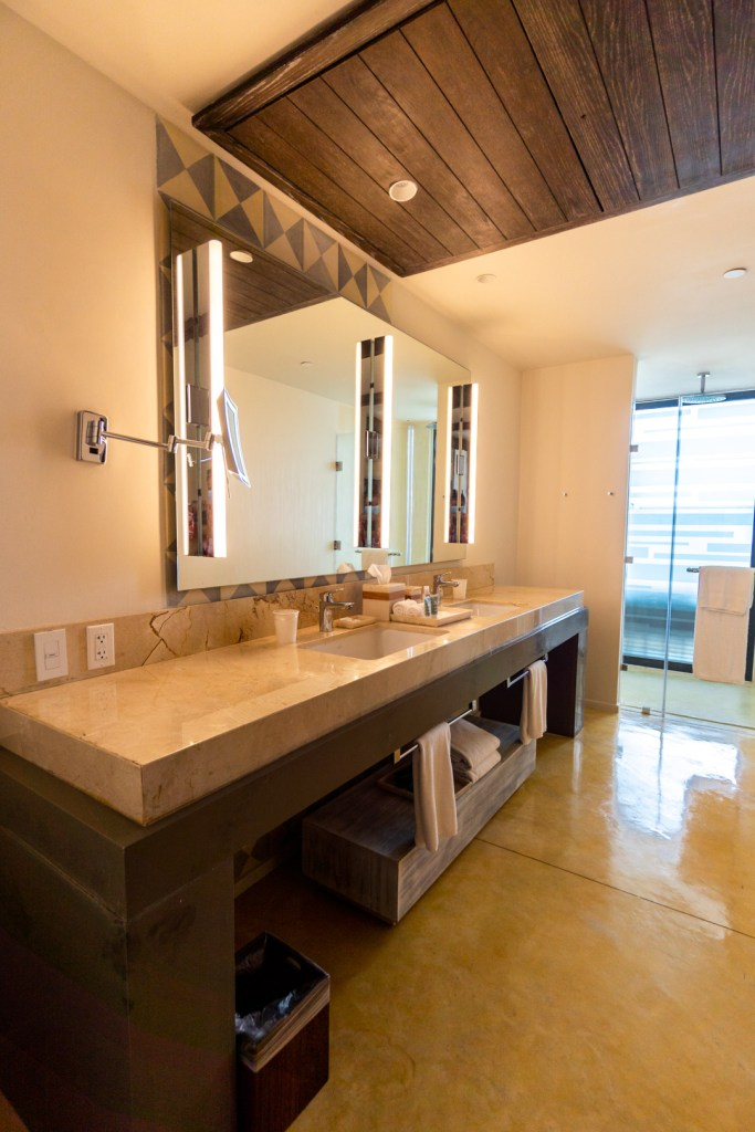Lagoon View Suite Vanity and Shower