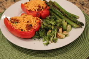 serving of turkey quinoa stuffed peppers