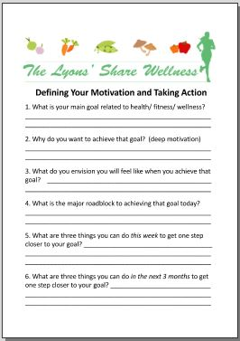 defining your motivation and taking action worksheet
