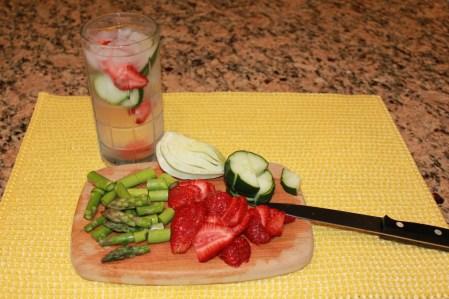 ingredients for strawberry fennel quinoa salad