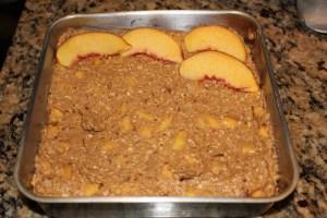 healthy peach oatmeal cake before baking
