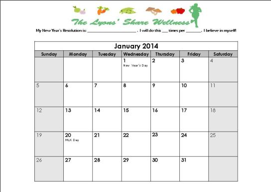 Lyons Share New Years Resolution Calendar