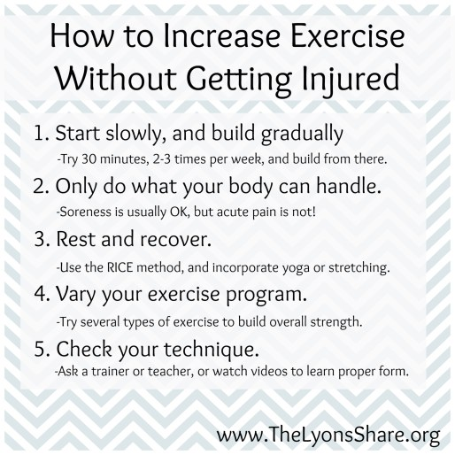 how to increase exercise without getting injured