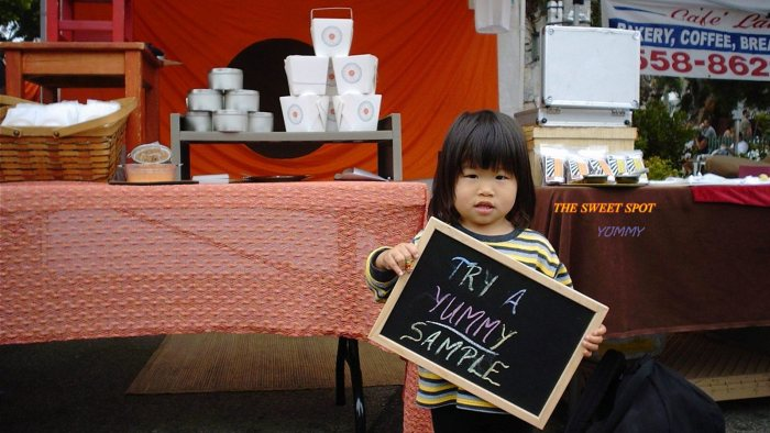 child with sample sign