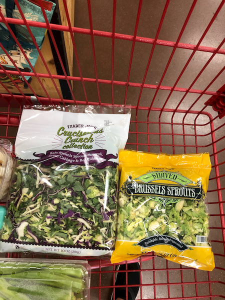 Trader Joe's cruciferous crunch and brussels sprouts