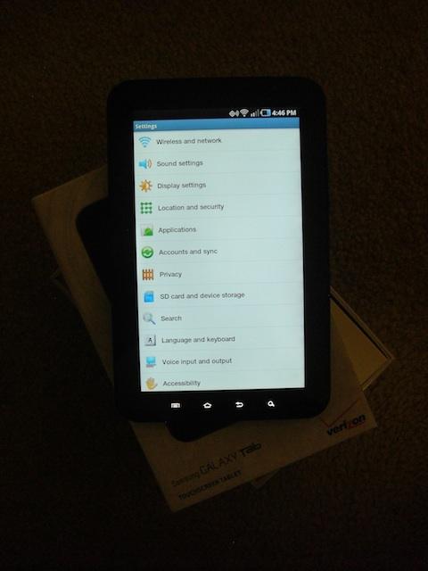 Samsung Galaxy Tab Settings Menu