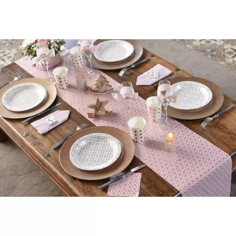chemin de table coton carreaux de ciment rose