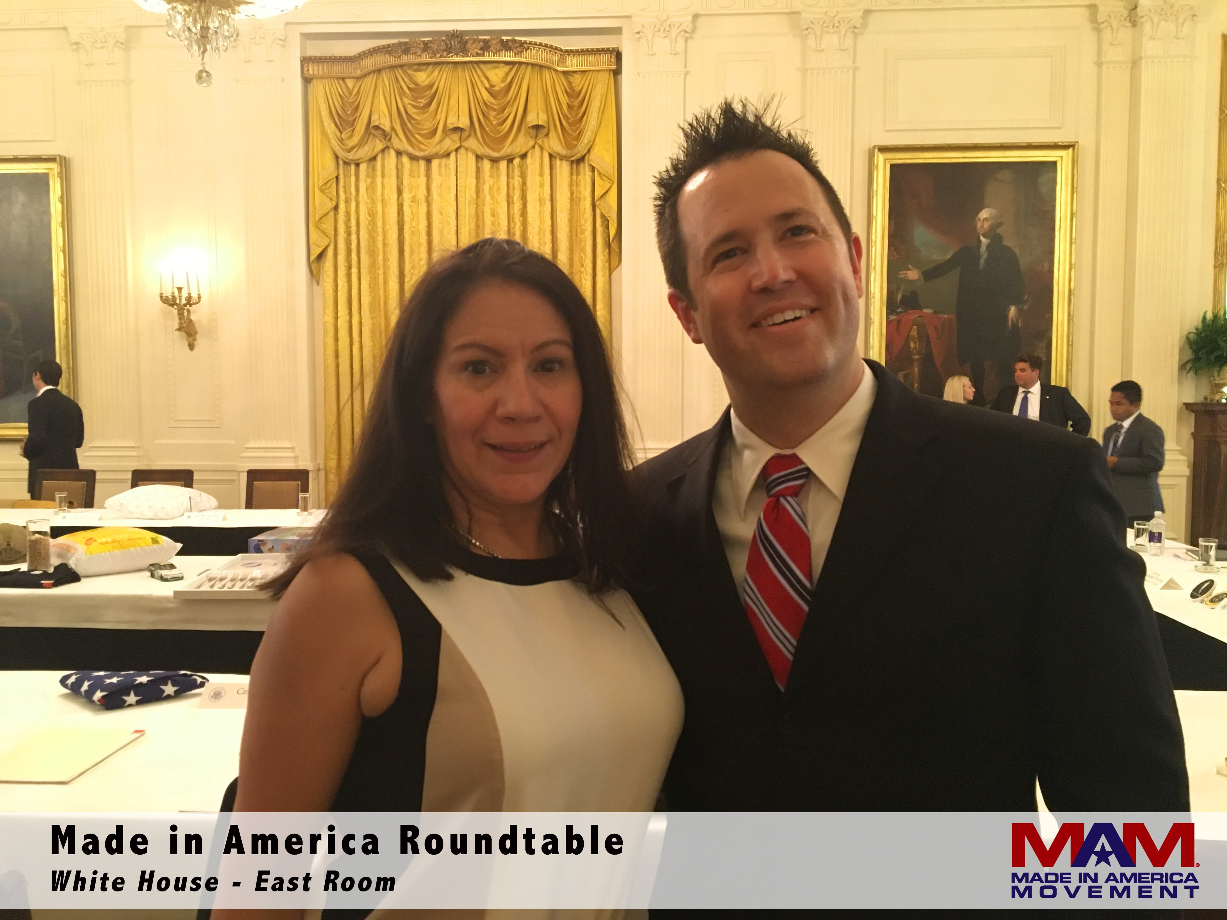 a055494d0ed84 Margarita Mendoza (CEO and Founder) and Kurt Uhlir (Chairman) at the Made in  America Roundtable in the East Room of the White House.