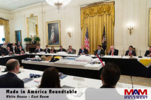 Margarita Mendoza and Kurt Uhlir at the Made in America Roundtable in the East Room of the White House.