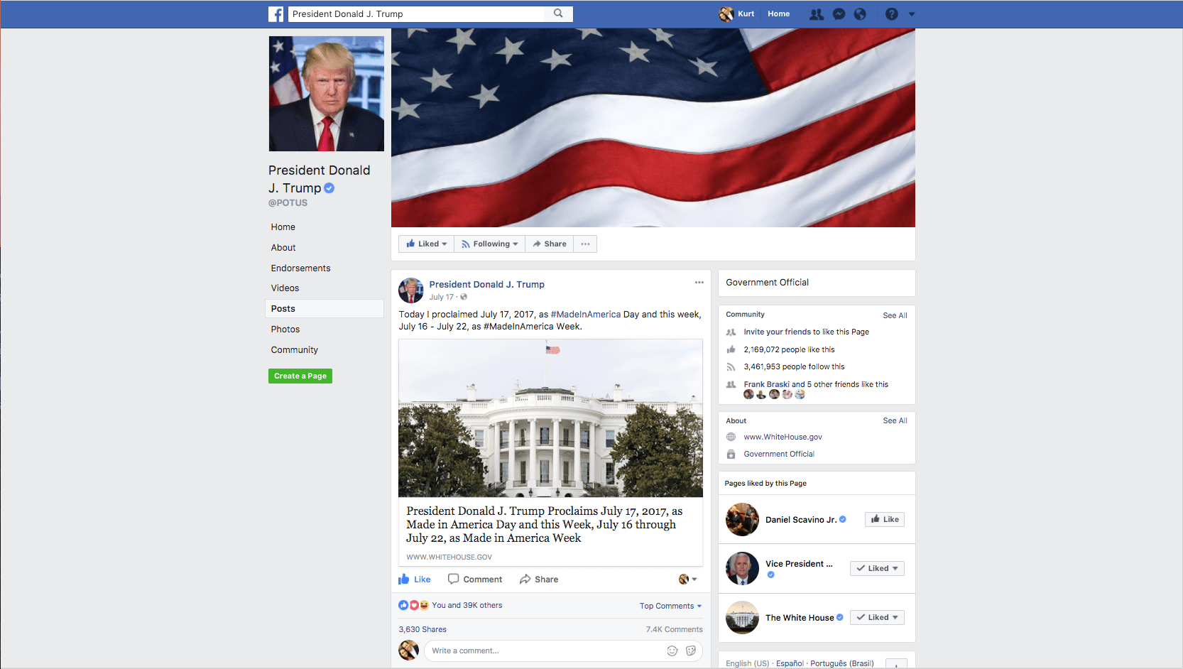 President Donald Trump Facebook post about Made in America Day 14a