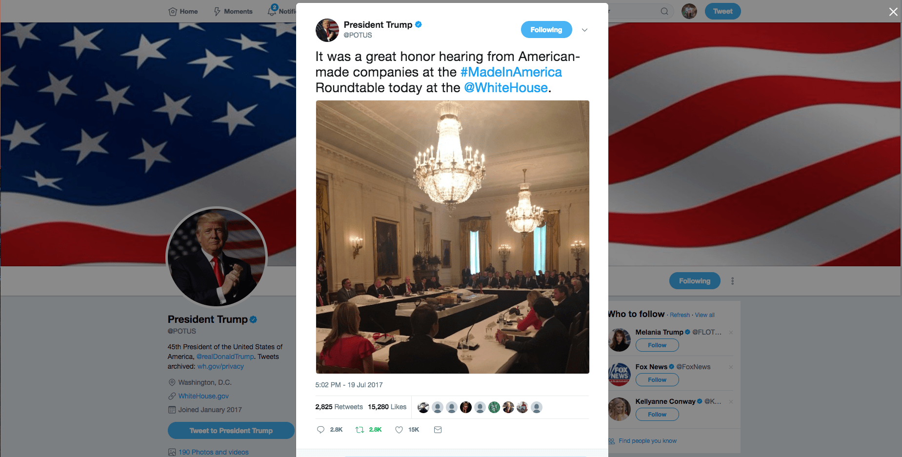 President Trump Tweet - Made in America Roundtable - Margarita Mendoza and Kurt Uhlir 1b