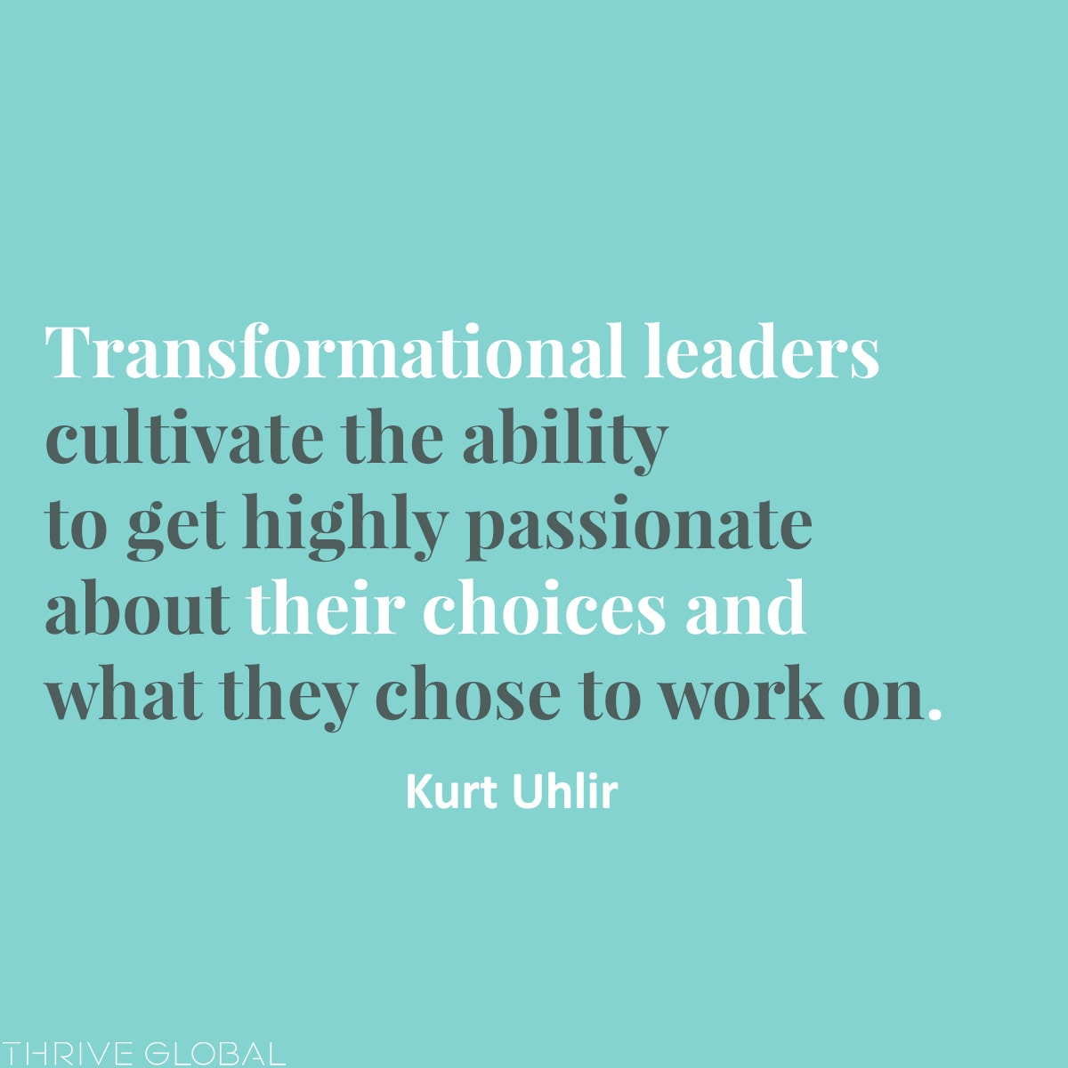 Transformational leaders cultivate the ability to get highly passionate about their choices and what they chose to work on.