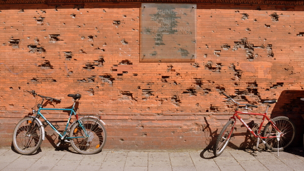Damage from World War II bombing was intentionally left on an otherwise restored building here in Munich, a reminder of the war.