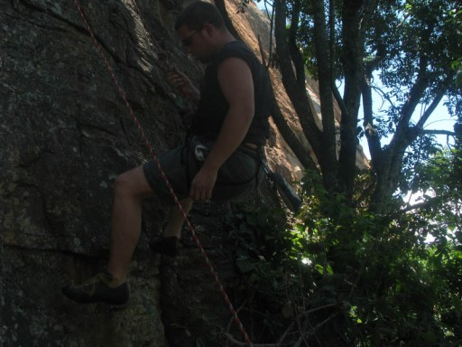 Tinus abseiling down Crouching Tiger