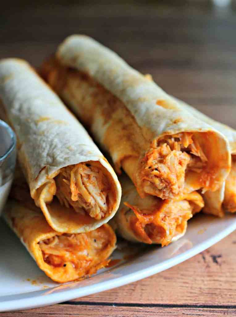 Slow Cooker Cheesy Buffalo Chicken Flautas