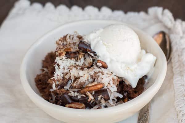Slow Cooker German Chocolate Spoon Cake