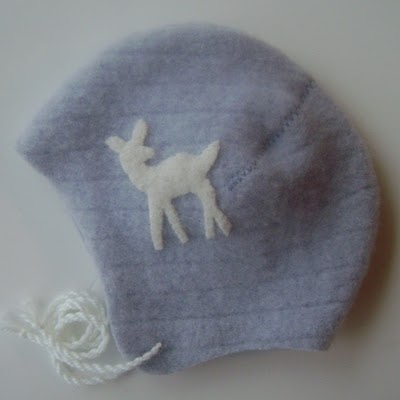 Sweet felted sweater baby bonnet