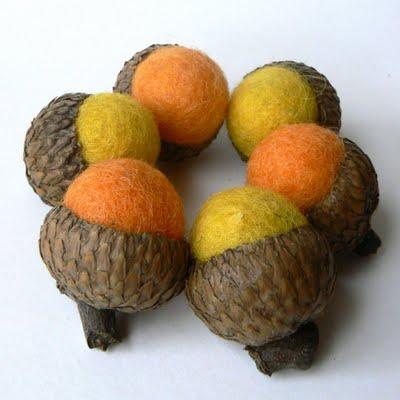 Orange and Yellow Needle Felted Acorns