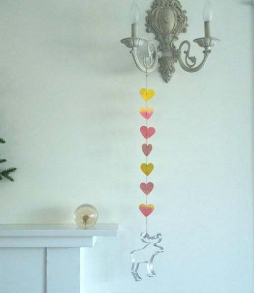 watercolor heart mobile for Valentine's Day : www.theMagicOnions.com