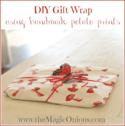 Potato Print Gift Wrap Paper DIY Tutorial : www.theMagicOnions.com