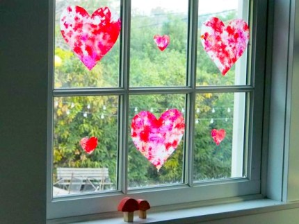 Wax Paper and Crayon Stained Glass Window Hearts : www.theMagicOnions.com