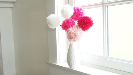 How to Make a Wool Pom Pom Flower : www.theMagicOnions.com