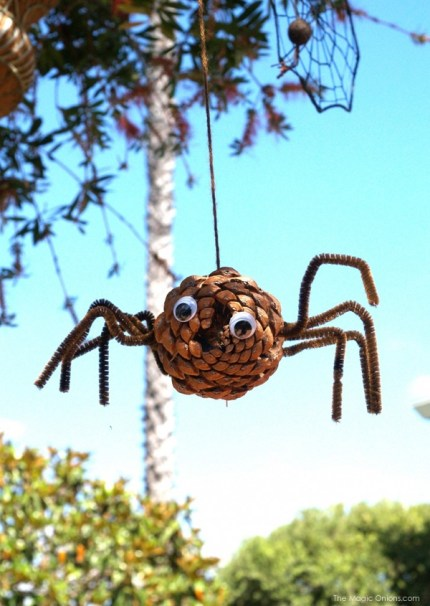 Make a Pine Cone Spider for Halloween : The Magic Onions Blog