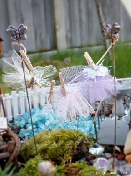 Fairy Tutu Washing Line Fairy Garden : Finalist in the Fairy Garden Contest : www.theMagicOnions.com