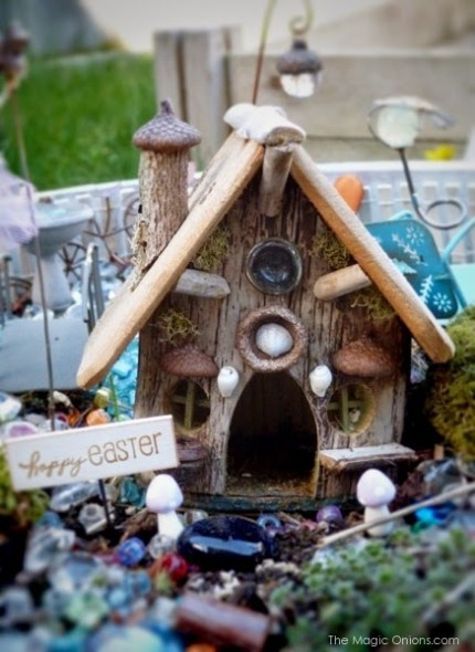 Wood Gnome Home Fairy Garden : Finalist in the Fairy Garden Contest : www.theMagicOnions.com