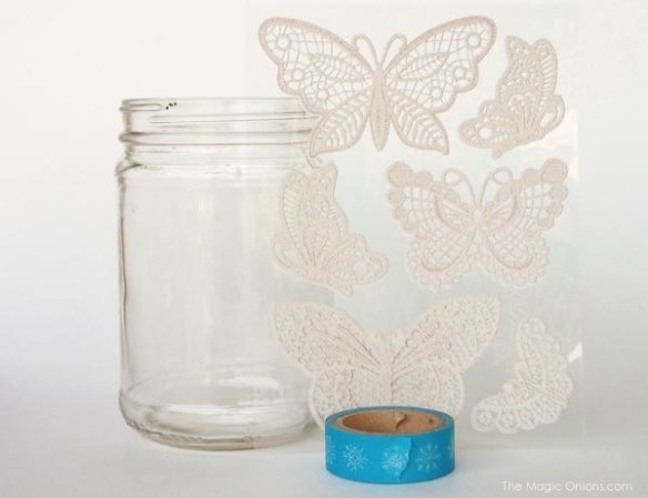 lace butterfly motiff for a DIY gold mason jar craft photo