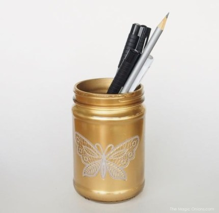gold mason jar pen holder diy craft photo