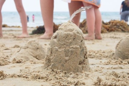 Building a sandcastle photo
