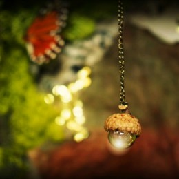 photo of my acorn and marble chandelier in my magical Fairy Garden