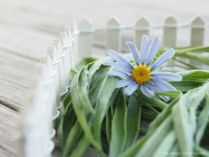 Photo of a Mini Fairy Garden White Picket Fence Accessory