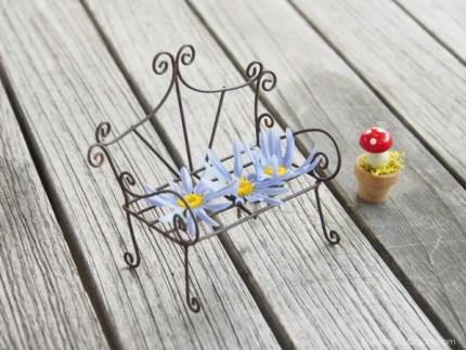 Photo of a Mini Fairy Garden Filigree Wire Garden Bench