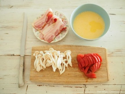 photo of the organic ingredients for our bacon and egg pie recipe